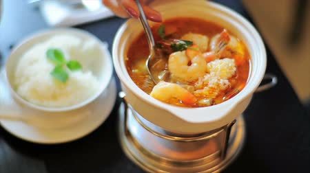 meal : Restaurant Soup With Prawns Stock Footage
