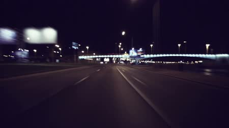 drive : Fast City Drive At Night In Saint-Petersburg