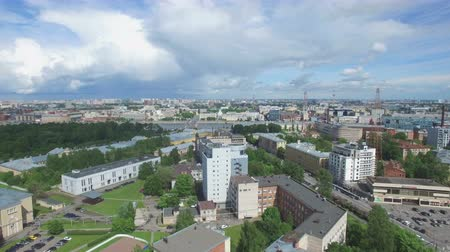 futball : Shooting from the flying quadrocopter of the city of St. Petersburg. Part 1