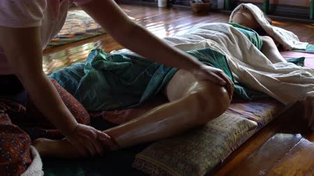 healer : Thai Foot Massage with Oil Stock Footage