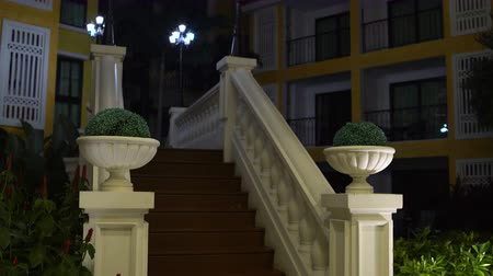 stair : Stairs with railings in night city Stock Footage