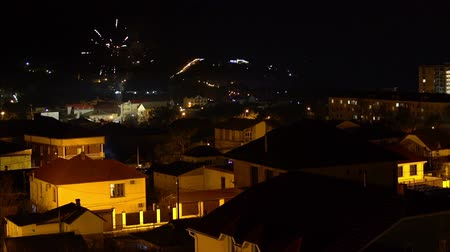 Fireworks over the small town of