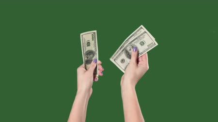 banqueiro : Chromakey. Green screen. Woman hands counting money us dollars. Stock Footage