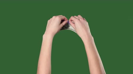 hitel : Chromakey. Green screen. Woman hands breaks the hundred dollar bill.