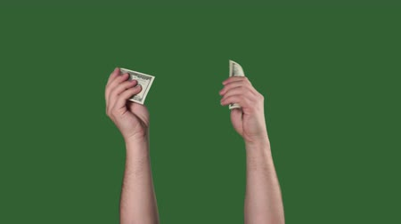 dolar : Chromakey. Green screen. Man hands counting money us dollars. Dostupné videozáznamy