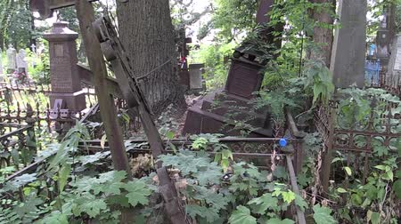 могила : destroyed groomed cemetery Стоковые видеозаписи