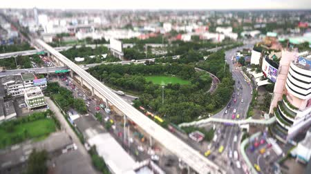 tilt : 4K Top view bangkok City tilt shift thailand Stock Footage