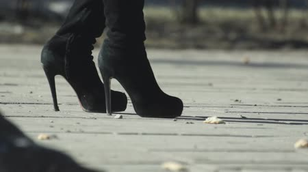 pięta : Female legs in boots and pigeons on the sidewalk Wideo