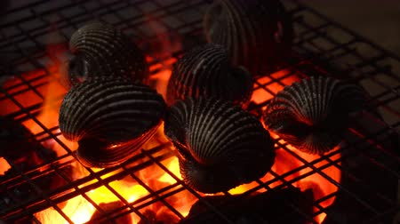 Close up of process cooking seafood on a barbecue with red fire on an asian night market