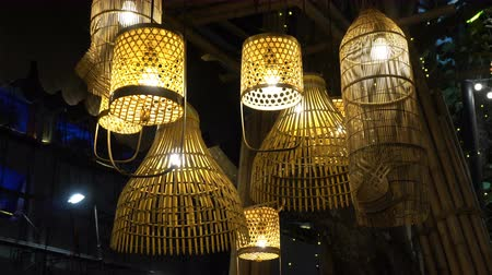 Thai traditional lamp made from bamboo Стоковые видеозаписи