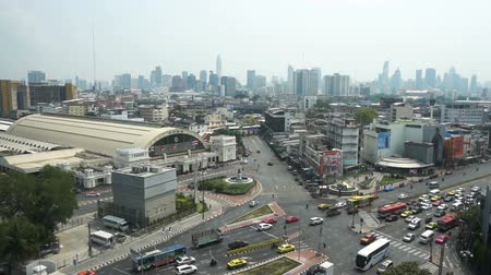 BANGKOK, THAILAND, 26 MARCH 2018: Bangkok street in central station from above view with traffic jam, taken in 26 March, 2018 in Bangkok, Thailand.