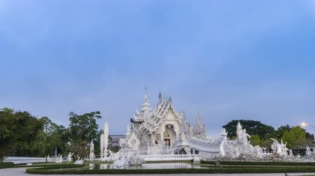 luang : Wat Rong Khun beautiful white temple famous landmark travel place and popular of Chiang Rai, Thailand in morning time 4K time lapse UHD. Stock Footage