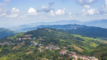 luang : Time lapse of Doi Mae Salong The village is located on a hilltop at Mae Fah Luang district in Chiang Rai province, Thailand. Popular locations for tourists Stock Footage