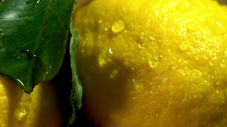 limon : Close up of lemons with leaves under drops water on wooden boards. Camera moves from right to left. Treatment of throat infections.