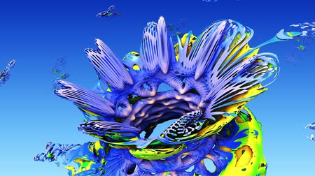 művészet : 3d fractal for kids. Floral rainbow background for child. Abstract flower in sky or coral underwater world in art for happy childhood. Stock mozgókép