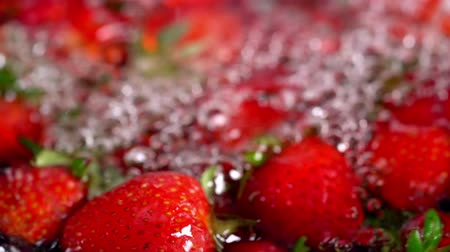 infused water : Strawberry fruit infused water. Close up of crop of picked freshly red berry and green leaves with horizontal motion from right to left. Stock Footage