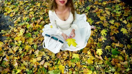 Autumn girl in fashion and lyrics style. Top view of beautiful woman play with bouquet of yellow leaves in hand sitting on fall land and toss up. Wideo
