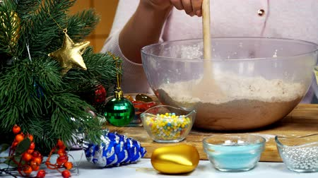 Woman is kneading dough for Christmas cookies in deep bowl wooden spoon and mix break eggs with sugar. Xmas tree with decorations close up and camera wiring from left to right. Wideo