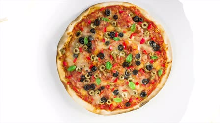 olive colored : Beautiful multi colored and crispy olive pizza Stock Footage