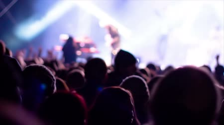 rock concert : De-focused footage of young people dancing at rock festival concert Stock Footage