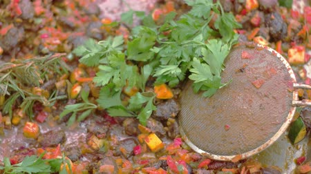 pyre : Herbs placed on vegan meal, which is being cooked Stock Footage
