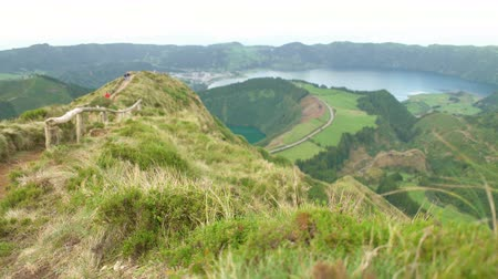 sete : A lookout from the Sete Cidades Stock Footage