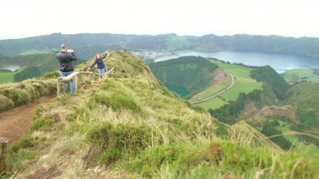 sete : Couple on the Sete Cidades Stock Footage