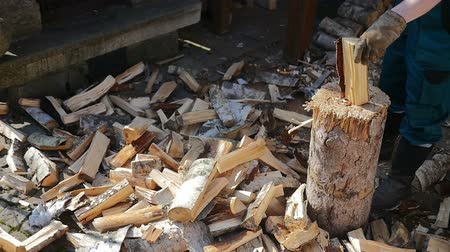 houthakken : Lumberman Working Wood Stockvideo
