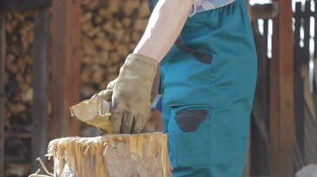 madeira : Lumberjack Chopping Hard Wood