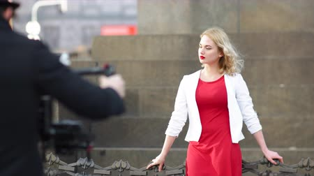 microstock : Indie Filmmaker Working with Russian Model Stock Footage