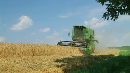 polního : Combine harvesting ripened wheat crop on midwest farm during harvest.