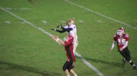 снасти : BUTLER - OCTOBER 26: Pendleton County Wildcat defender (name withheld) from Foster, KY intercepts the football during a high school game against the Garrard County Golden Lions October 26, 2007 in Butler, KY. Стоковые видеозаписи