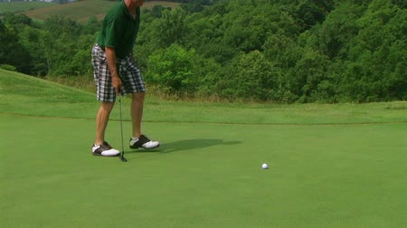 sas : Golfer using putter to sink putt into hole on country club course.