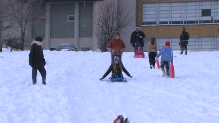 Teenagers having fun after late winter snowstorm, sledding down hill and crashing.