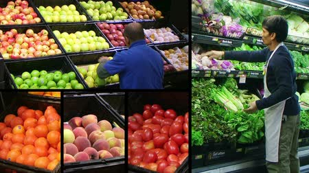 tomate : Montage of workers facing produce and shoppers in fresh produce market.