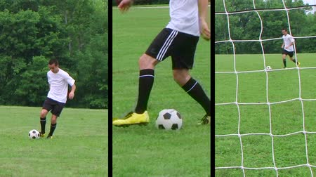 jogadores : Montage of male teenage soccer player dribbling ball and kicking score. Vídeos