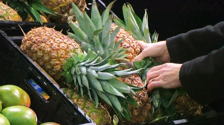 Woman selecting fresh pineapple while shopping in local supermarket.
