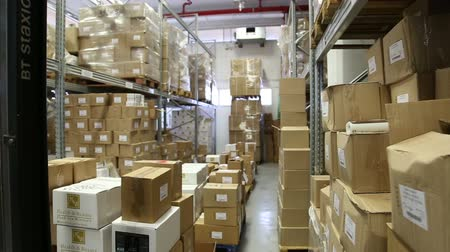teslim : Indoor warehouse with boxes Stok Video