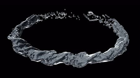 Slow motion Animation of Nature water ring flowing and forming the circle, Liquid swirling and splashing seamless loop, Motion background 3D CG 4k Ultra HD 3840x2160, RGB with Alpha.