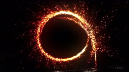 megvilágított : Sphere of fire ring sparks and spinning over black background, 3D CG Animation 4k Ultra HD 3840x2160.