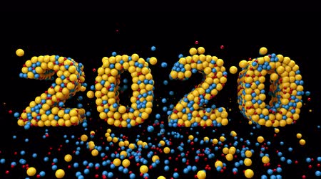 kalendarz : 2020 New Year motion graphics video footage, Bubbles ball text animation render with Rainbow and colorful, 3D CGI Compositing process, 4k Ultra HD 3840x2160, RGB with Alpha and Green screen.