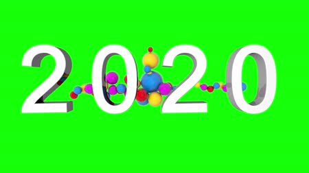 kalendarz : 2020 New Year motion graphics video footage, Bubbles ball text animation render with Rainbow and colorful, 3D CGI Compositing process, 4k Ultra HD 3840x2160, RGB with Alpha.