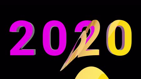 neve : 2020 New Year motion graphics video footage, Text stickers title animation render with yellow and purple color, 3D CGI Compositing process, 4k Ultra HD 3840x2160, RGB with Alpha and Green scree. Stock Footage