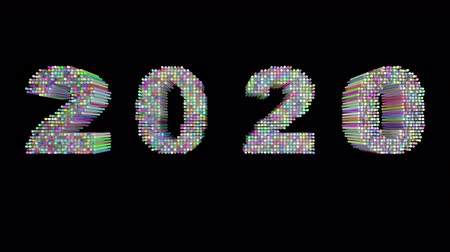 neve : 2020 New Year motion graphics video footage, Text title animation render with Rainbow and colorful, 3D CGI Compositing process, 4k Ultra HD 3840x2160, RGB with Alpha and Green scree.