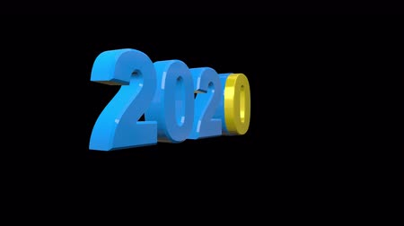 kalendarz : 2020 New Year motion graphics video footage, Text stickers title animation render with yellow and blue color, 3D CGI Compositing process, 4k Ultra HD 3840x2160, RGB with Alpha and Green screen.