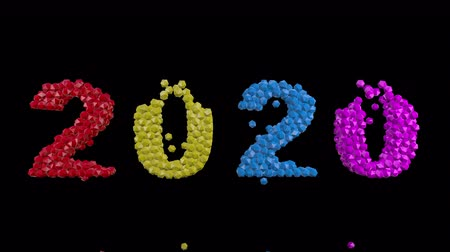 neve : 2020 New Year motion graphics video footage, Text title animation render with colorful, 3D CGI Compositing process, 4k Ultra HD 3840x2160, RGB with Alpha and Green screen. Stock Footage