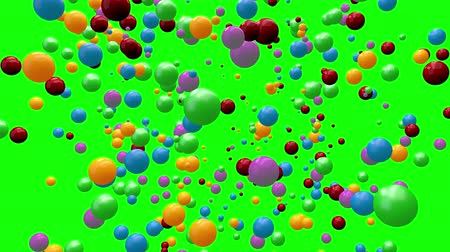 plac zabaw : Animation of a pile of abstract colorful spheres and balls, 3D CGI Compositing process, 4k Ultra HD 3840x2160, RGB with Alpha matte and Green screen.