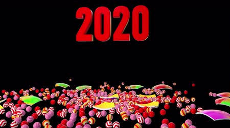 kalendarz : 2020 New Year motion graphics video footage, Text title animation render with christmas ball colorful, 3D CGI Compositing process, 4k Ultra HD 3840x2160, RGB with Alpha matte.