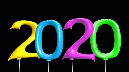 neve : 2020 New Year motion graphics video footage, Balloons text title animation render with colorful, 3D CGI Compositing process, 4k Ultra HD 3840x2160, RGB with Alpha and Green scree.