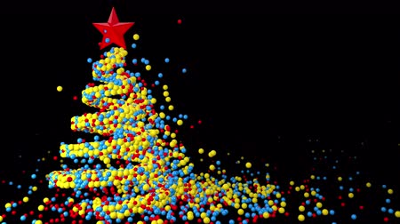 Christmas tree of gifts appearing, Merry Christmas and Happy New Year 2020 animation, 3D CGI Compositing process, 4k Ultra HD 3840x2160, RGB with Alpha matte.